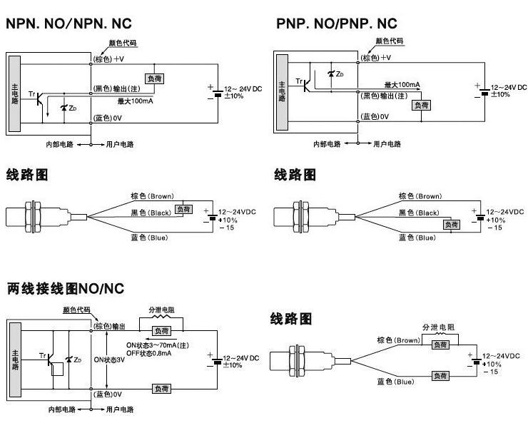 m18全金属封装接近传感器接线图